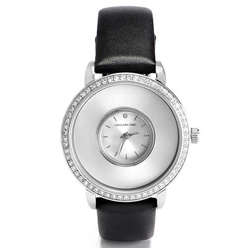 LK5003 Silver Signature Locket Watch with Swarovski Crystals Black Genuine Leather Band